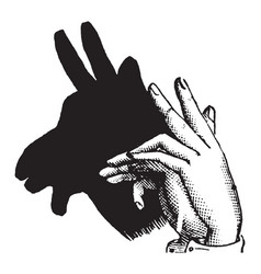 Hand-shadow of goat vintage engraving vector