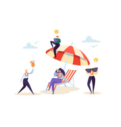 happy business characters relaxing on beach vector image