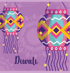 happy diwali festival mandala background vector image