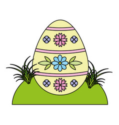 happy easter egg on grass vector image
