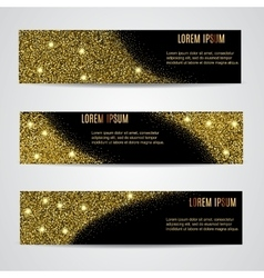 Horizontal Black and Gold Banners Set vector