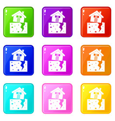House after an earthquake icons 9 set vector