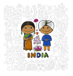 indian people sketch for your design vector image