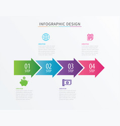 Infographics arrow number 4 step template vector