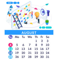 Isometric calendar of 2019 creating business idea vector