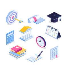 isometric education icon set 3d graduation vector image