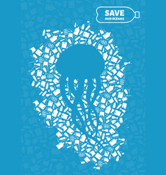jellyfish plastic trash planet pollution concept vector image