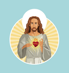 jesus christ sacred heart stamp vector image