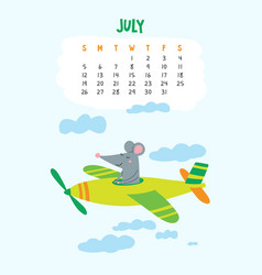 July calendar page with cute rat in travel vector