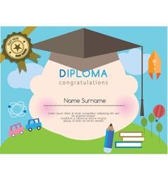 Kids diploma preschool certificate elementary vector