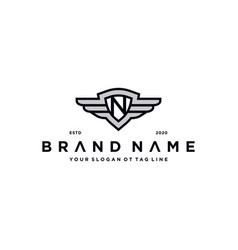 Letter n shield wing logo design concept vector