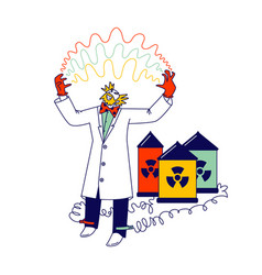 Mad scientist connect wires batteries vector