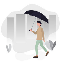 man walking city street with umbrella in in his vector image