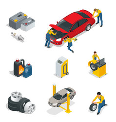 Mechanic and car repair battery spark plugs oil vector
