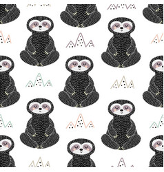 meditating sloth seamless pattern vector image