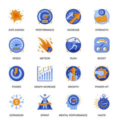 Mental performance icons set in flat style vector