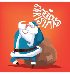 Merry Christmas blue Santa Claus with gift bag vector