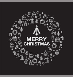 merry christmas greeting card with holiday vector image
