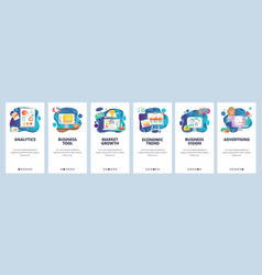 Mobile app onboarding screens business analytics vector