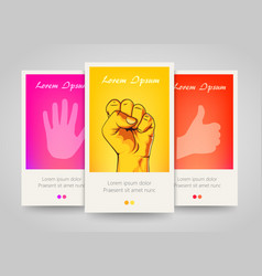Modern colorful vertical hand motive banners vector