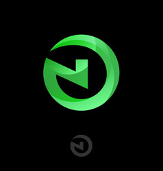 N letter logo green monogram into circle network vector