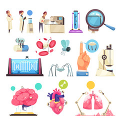 nanotechnologies decorative icons set vector image