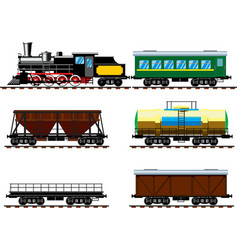 Old steam locomotive with wagons vector