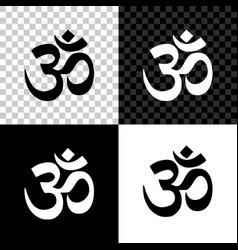 om or aum indian sacred sound icon on black white vector image