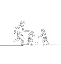 one single line drawing young father run vector image