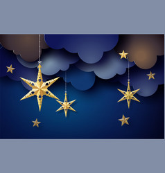 Origami star hang on sky in dark night vector