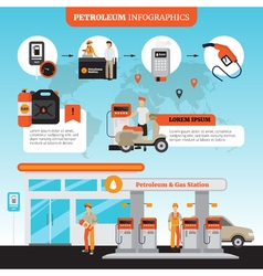 Petrol station infographic set vector