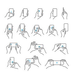 phone in hand icon set vector image