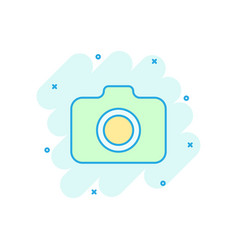 photo camera icon in comic style photographer cam vector image