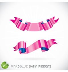Pink Blue Satin Ribbons vector image