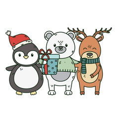 polar bear penguin and deer with gift celebration vector image