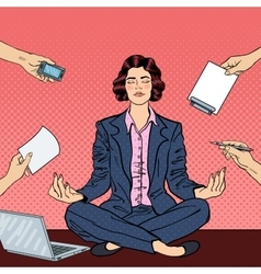 Pop Art Business Woman Meditating on the Table vector image