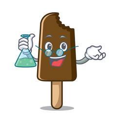 professor chocolate ice cream character cartoon vector image