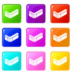 reception table icons set 9 color collection vector image