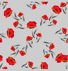 red seamless pattern with poppy floral background vector image