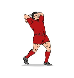 Rugby Player Throwing Lineout Ball vector