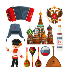 russian landmarks and different traditional vector image