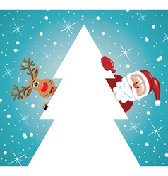 santa claus with reindeer and christmas tree vector image