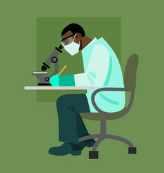 Scientist looking through microscope vector