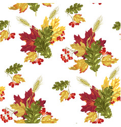 Seamless pattern with autumn bouquet vector