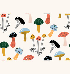 seamless pattern with decorative mushrooms in the vector image