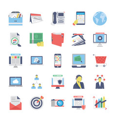 seo and marketing flat colored icons 1 vector image