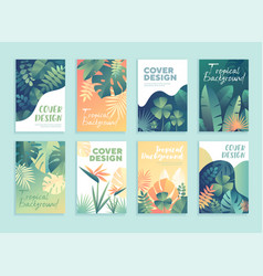 Set 8 different tropical templates for covers vector