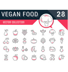 Set flat line icons vegan food vector