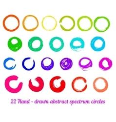 set from 22 hand-drawn abstract ink circles vector image