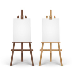 Set of wooden brown sienna easels with mock vector